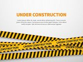 Under Construction Page. Caution Yellow Tape Construct Warning Line Background Sign Web Page Securit poster