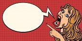 Pop Art Woman Points. Funny Emotional Girl. Advertising Announcement Presentation. Comic Cartoon Pop poster