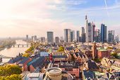 Panoramic View Cityscape Skyline Of Business District With Skyscrapers During Sunrise, Frankfurt Am  poster