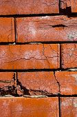 Weathered Horizontal Old Grungy Dark Red Brick Wall poster