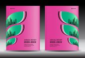 Pink Cover Template With City Landscape, Annual Report Cover Design, Business Brochure Flyer Templat poster