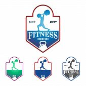 Weightlifting Fitness Gym Vector Logo Badge Template poster