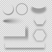 Set Of Transparent Shadow With Soft Edges Isolated. Set Of Round And Square Shadow. Realistic Shadow poster