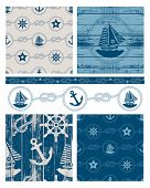 Vector patchwork nautical patterns.  Use to create quilting patches or seamless backgrounds for vari