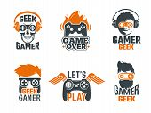 Gamers Badges. Joystick Video Gaming Old School Labels For Smart Geek Vector Template. Logo For Game poster