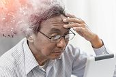 Asian Elder Lost Memory From Dementia Or Alzheimer Disease Concept poster