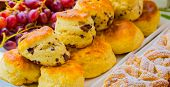 Breakfast Danish Pastry And Scone - Danish Pastry And Chocolate Chip Scone For Catering At Spring Fe poster