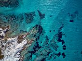 Beautiful rocky coastline top aerial view drone shot, Sithonia, Greece poster