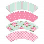 Set Of Retro Cupcake Wrapper Templates In Shabby Chic Style poster