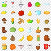 Vegetarian Kitchen Icons Set. Cartoon Style Of 36 Vegetarian Kitchen Ector Icons For Web For Any Des poster
