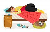 Sick Woman In Bed. Menstrual Pain, Woman Health Vector Concept. Illustration Of Woman Ill, Person Ch poster