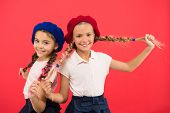 Their Own Style. French Style Girls. Cute Girls Having The Same Hairstyle. Small Children With Long  poster