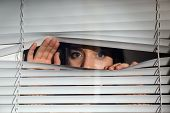 Curious Woman Looking Through Venetian Window Blinds poster