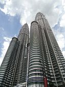 stock photo of petronas twin towers  - A side view of twin towers aka petronas towers - JPG