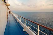 Ship Board In Miami, Usa In Blue Sea. Shipboard On Idyllic Seascape. Water Travel, Voyage, Journey.  poster