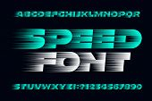 Speed Alphabet Font. Fast Speed Effect Uppercase Letters, Numbers And Symbols. Stock Vector Typescri poster
