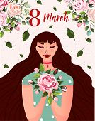 International Womens Day. Spring Holiday Happy Womens Day 8 March. Cute Greeting Card, Poster With W poster