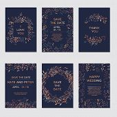 Wedding Invitation. Copper Elegant Floral Invite Set, Modern Card In Copper Leaf Greenery Branches D poster