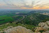 Sunset View Of The Jezreel Valley, From Mount Precipice. Israel poster