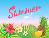 Summer Mood Banner Vector Placard Sample. Meadow With Palm Leaves, Pineapple And Exotic Flowers Isol poster