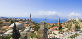 foto of annal  - Stitched panorama view of Antalya the famous holiday town in Turkey  - JPG
