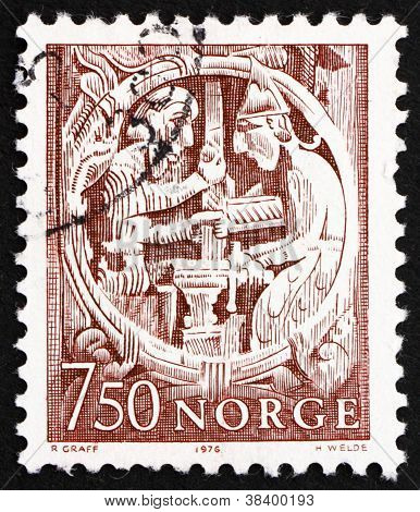 Postage stamp Norway 1976 Sigurd and Regin, Norwegian Folk Tale