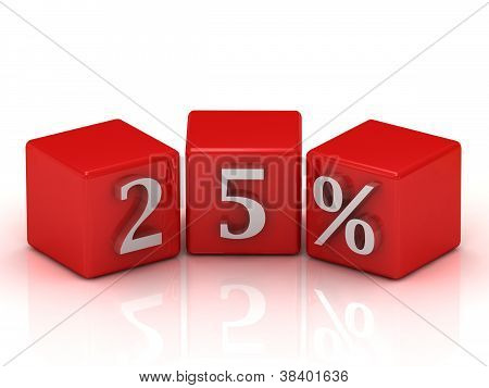 25 Percent On Red Cubes