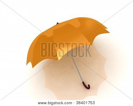 Orange Umbrella With Wooden Handle