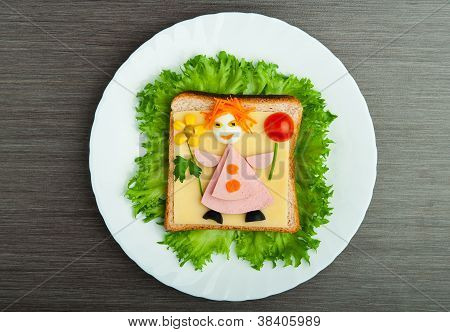 Design Food. Creative Sandwich For Child With  Picture Little Man