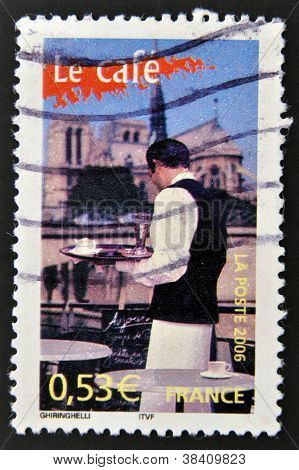 FRANCE - CIRCA 2006: A stamp printed in France dedicated to coffee shows a waiter serving a coffee o