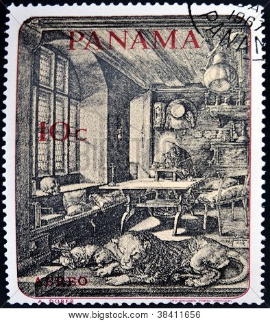 PANAMA - CIRCA 1967: A stamp printed in Panama shows Saint Jerome in His Study by Durer circa 1967
