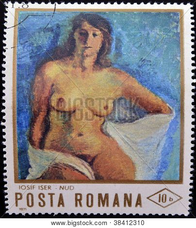 ROMANIA - CIRCA 1971: stamp printed in Romania shows painting of naked woman by Josef Iser circa 197