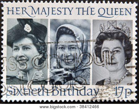 Reino Unido - por volta de 1986: um selo imprimido na Grã-Bretanha mostra sua Majestade a rainha Elizab