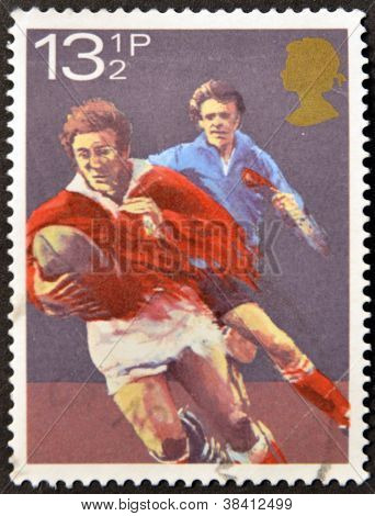 UNITED KINGDOM - CIRCA 1980: A stamp printed in Great Britain dedicated to rugby circa 1980