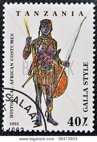 TANZANIA - CIRCA 1993: A stamp printed in Tanzania dedicated to historical african costumes shows ga