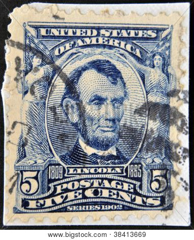UNITED STATES OF AMERICA - CIRCA 1902: A stamp printed in USA shows president Abraham Lincoln circa