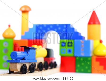 Wood Toy Train And Blocks