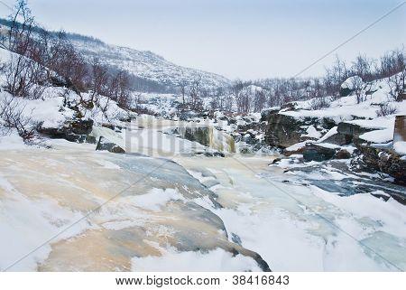Frozen River In Tundra