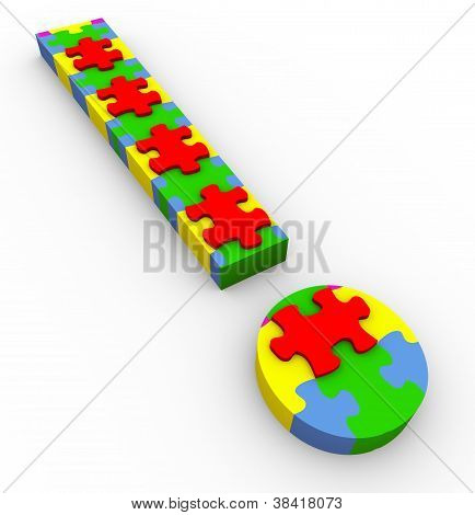 3D Puzzle Exclamation Mark