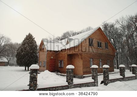Snowy Winter House