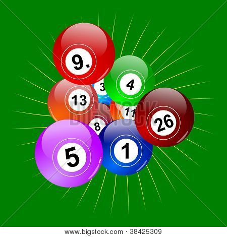 Colorful winning lottery balls