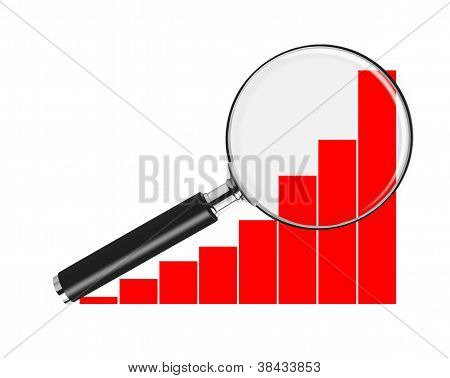 Bar chart and magnifying glass