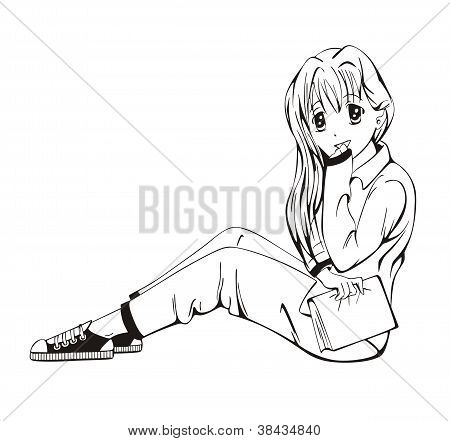 Anime Girl Sitting