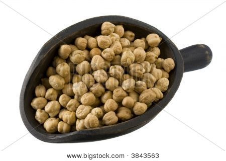 Scoop Of Chickpea (Garbanzo Beans) Isolated On White