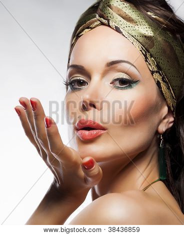 Oriental Fashion Style. Beautiful Lady Magic Face. Glamor