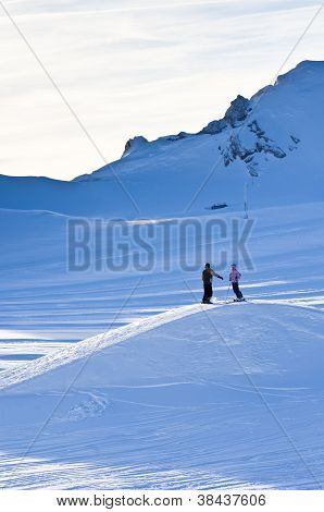 Two skiers on Kaprun glacier