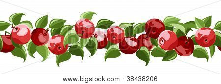 Horizontal seamless background with red apples and leaves. Vector illustration.