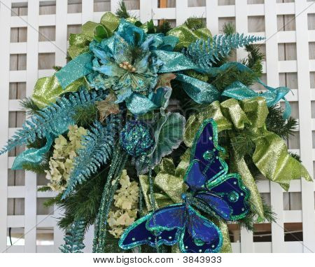 Blue And Green Christmas Wreath