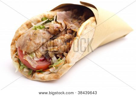 close up of kebab sandwich