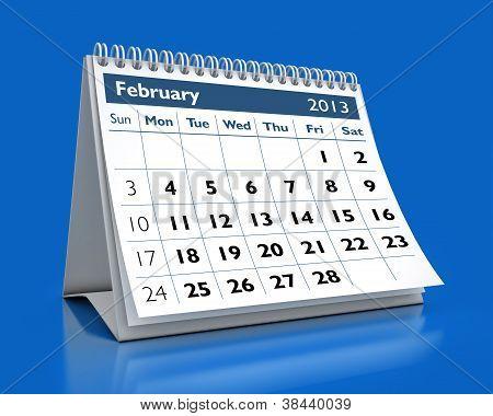 Calendário de fevereiro de 2013